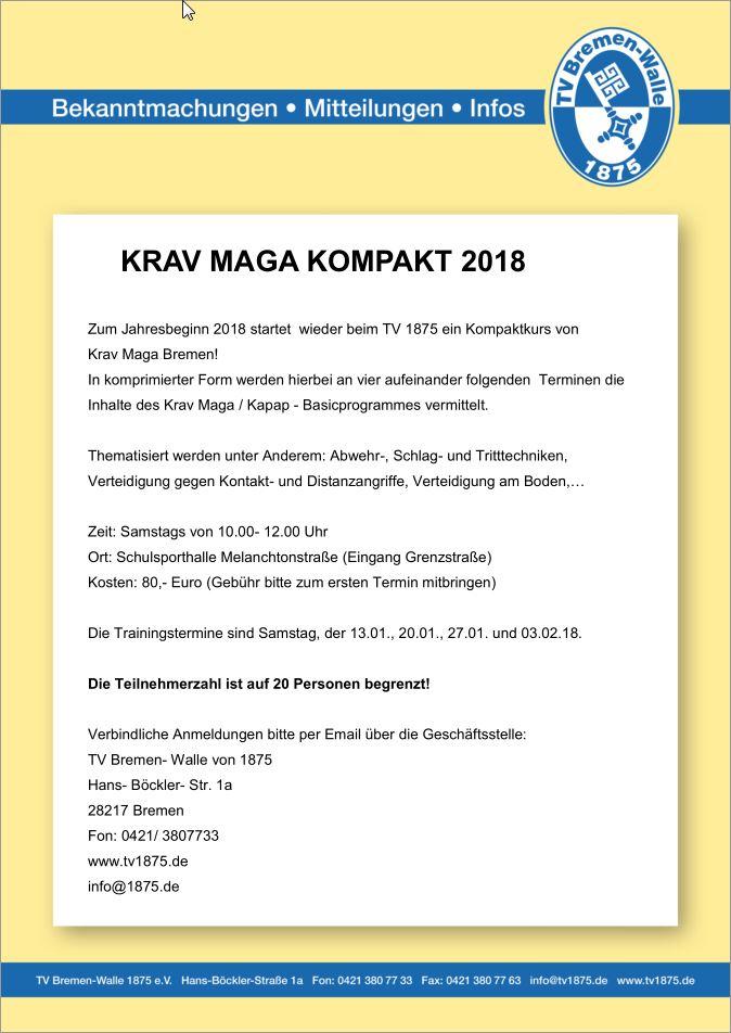 Ausschreibung Krav Maga Kompakt