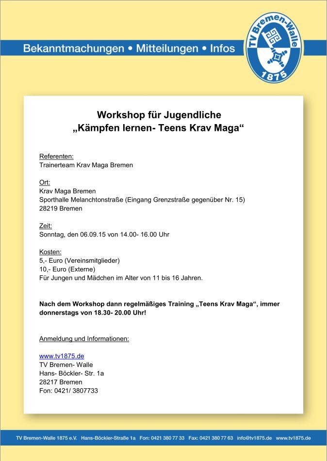 Ausschreibung Teens Krav Maga Workshop
